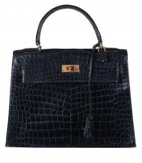 Hermes, A Black Crocodile 28 Kelly Handbag, , Circa