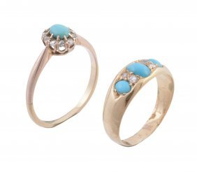 A Turquoise And Diamond Ring, The Central Oval Cabochon