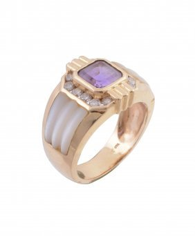 An Amethyst And Diamond Ring, The Central Square Cut