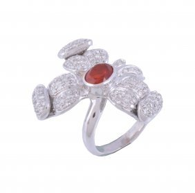 A Fire Opal And Diamond Dress Ring, Designed As A