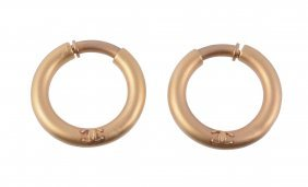 A Pair Of Ear Hoops By Chanel , The Brushed Circular