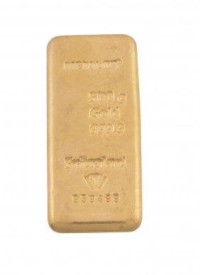 A Gold Coloured Bar, Stamped Metalor, 500g, Gold,