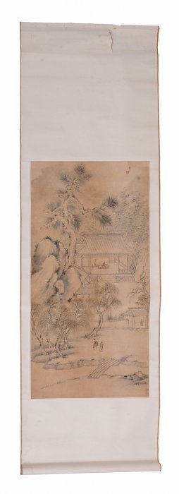 A Chinese Black Ink Scroll Painting ,19th Or Early 20th