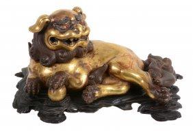 A Gilt-metal Buddhistic Lion Censor And Cover,