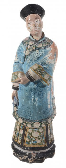 A Chinese Painted-plaster Nodding-head Mandarin Figure