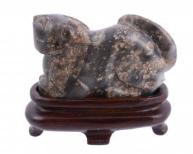 A Small Chinese Jade Model Of A Duck, With Incised