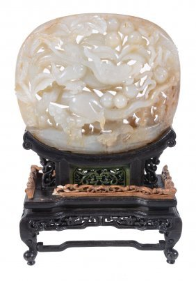 A Chinese Celadon Jade Plaque, Probably 17th Or 18th