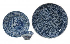 A Small Chinese Blue And White Kraak Dish , Wanli