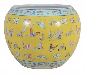 A Good Large Chinese Yellow-ground Fish Bowl, 19th