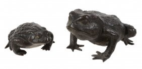A Bronze Model Of A Toad, The Warty Skinned Reptile