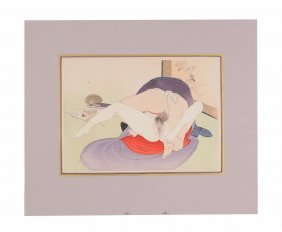A Suite Of Six Japanese Shunga Woodblock Prints