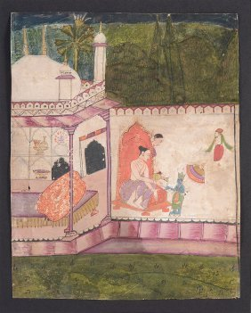 A Prince Seated Outside A Pavilion With The Dwarf