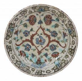 An Isnik Pottery Dish, Ottoman Turkey, 17th Century,