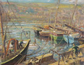 Victor Elford (1911-2003) - Boats At Harbour