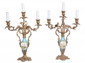 A Pair Of French Gilt Metal And Porcelain Mounted Three