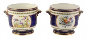 A Pair Of Sevres-style Blue-ground Bottle Coolers ,