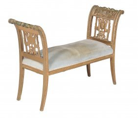 A Giltwood Window Seat, In French Early 19th Century
