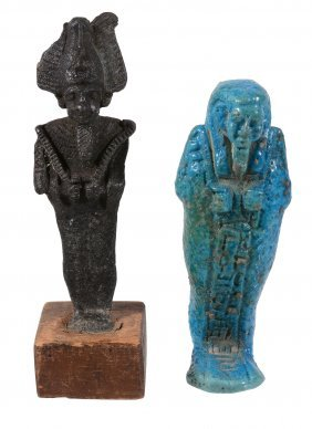 An Egyptian Bright Blue Glazed Composition Shabti, 30