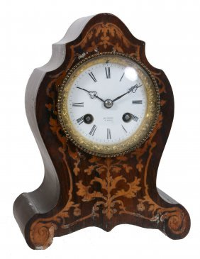A French Rosewood And Marquetry Inlaid Mantel Clock ,