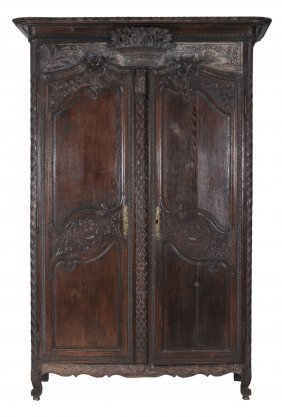 A Louis Xv Carved Oak Armoire , Mid18th Century, 225cm