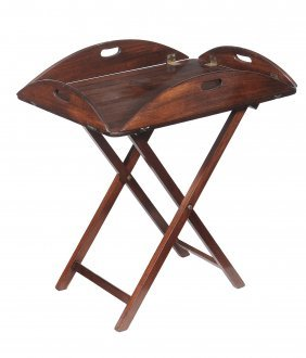 A Victorian Mahogany Butler's Tray On Stand , Circa