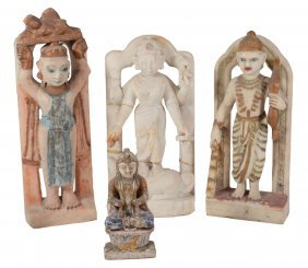 Four Indian Carved Stone Dieties, Circa 1910, Three