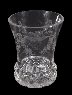 A Bohemian Clear-glass And Engraved Flared Tumbler,