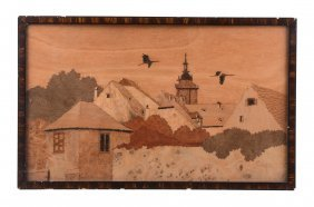 Charles Spindler , A Sample Wood Marquetry Landscape