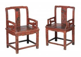 A Pair Of Chinese Red Lacquer Hall Chairs , 19th