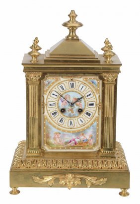 A French Gilt-metal And Sevres-style Porcelain Mantel