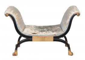An Ebonised And Giltwood Window Seat In Regency Style ,