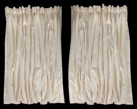 A Pair Of Plain Ivory Coloured Curtains, 166cm Wide,