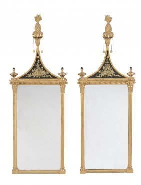 A Pair Of Giltwood And Composition Pier Glasses In The