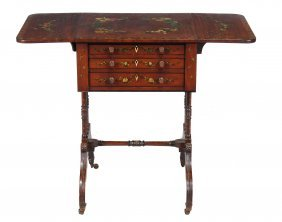 A Regency Mahogany And Rosewood Banded Work Table With