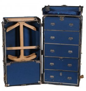 A Steamer Trunk, Early 20th Century, Opening To Reveal