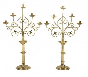 A Pair Of Brass Five Light Candelabra In Gothic Style,