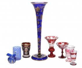 Eight Items Of Mostly Bohemian And Later Glass, 19th
