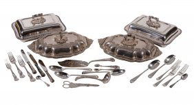 Two Pairs Of Electroplated Entree Dishes, Covers And