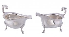 A Pair Of Silver Shaped Oval Sauce Boats By William