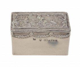A German Silver Rectangular Snuff Box Shaped As Tea