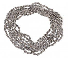 A Russian Silver Coloured Rope Twist Guard Chain,