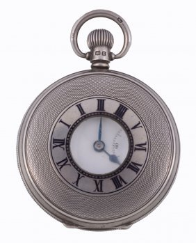 A Silver Keyless Wind Half Hunter Pocket Watch, No