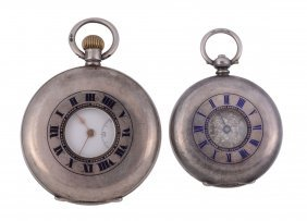 A Swiss Silver Half Hunter Keyless Wind Pocket Watch,