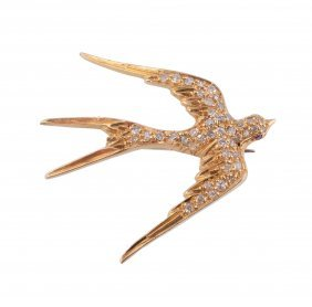 A Diamond Swallow Brooch, Designed As A Swallow Set