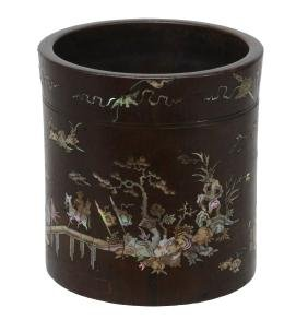 A Chinese Wood And Mother-of-pearl Inlaid Brushpot,