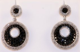 Designer 14k White Gold Earrings Set With White And Bla