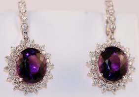 Earrings 14k White Gold With Diamonds And Amethyst.