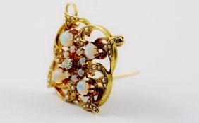 Old Estate Diamond And Opal Pendant.