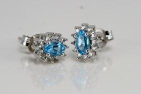 14K W/T DIAMOND & BLUE TOPAZ ER