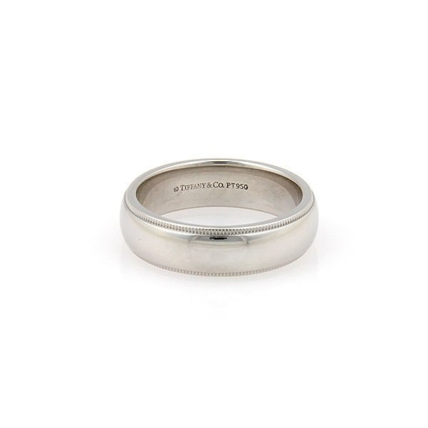 Tiffany  Co. Platinum 6mm Milgrain Wedding Band Ring